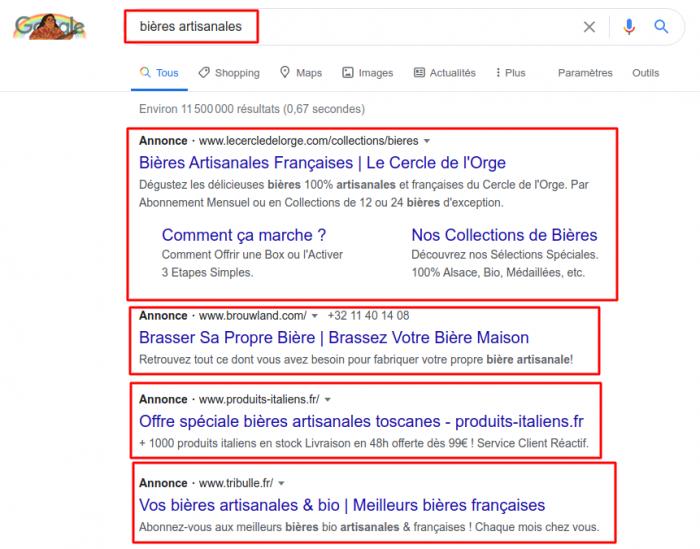Exemple de publicités sur Google en achat de mots clés